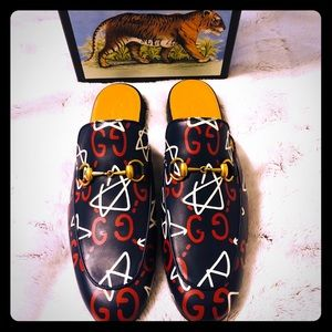 Gucci Ghost Princetown Horsebit Detail Slippers